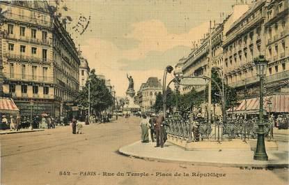 """/ CPA FRANCE 75003 """"Paris, rue du Temple et place de la République"""" / METRO"""