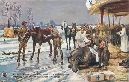 """CPA MILITAIRE / CHEVAUX """"soins aux chevaux blessés à la guerre"""""""