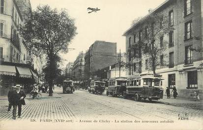"/ CPA FRANCE 75017 ""Paris, av de Clichy"" / BUS"
