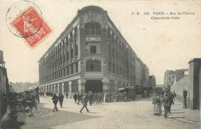 "/ CPA FRANCE 75019 ""Paris, rue de l'Ourcq, charcuterie Polin"""
