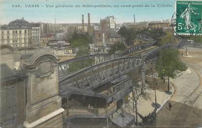 """/ CPA FRANCE 75019 """"Paris, vue générale du Métropolitain""""/ METRO"""