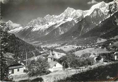 """/ CPSM FRANCE 74  """"Les Houches, vue générale et la chaîne du Mont Blanc"""""""