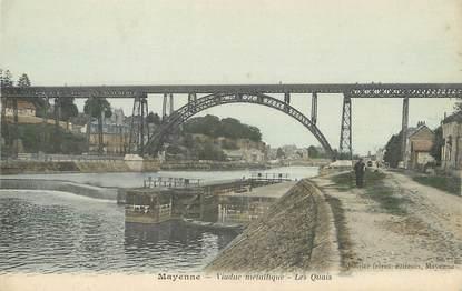 "/ CPA FRANCE 53 ""Mayenne, viaduc métallique, les quais"""