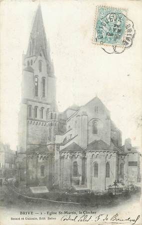 "/ CPA FRANCE 19 ""Brive, église Saint Martin, le clocher"""