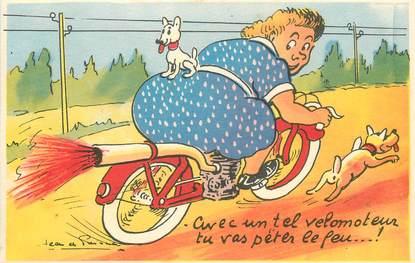 "CPA JEAN DE PREISSAC  ""avec un tel vélomoteur, tu vas..."""
