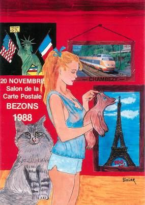 """CPSM  ILLUSTRATEUR JC SIZLER """"Salon de cartes postales 1988"""""""