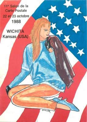"""CPSM  ILLUSTRATEUR JC SIZLER """"Salon de cartes postales 1988, USA"""""""