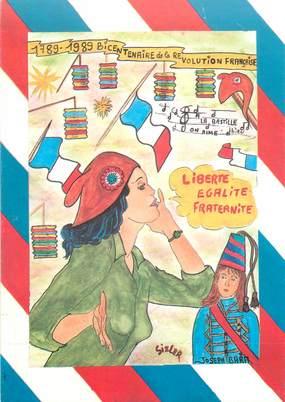 """CPSM  ILLUSTRATEUR JC SIZLER """"1989, bicentenaire de la révolution française"""""""