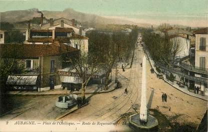 """CPA FRANCE 13 """"Aubagne, Place de l'Obélisque, rte de Roquevaire"""""""