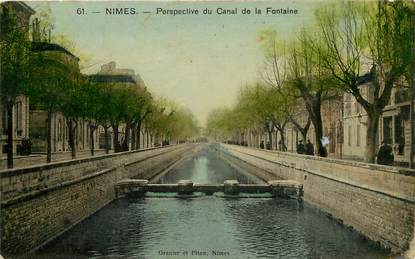 """CPA FRANCE 30 """"Nimes, perspective du canal de la Fontaine"""""""