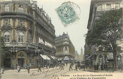 """CPA FRANCE 75002 """"Paris, la rue de la Chaussée d'Antin et le Théâtre du Vaudeville"""""""