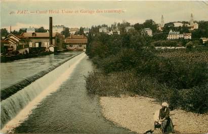 "CPA FRANCE 64 ""Pau, canal Heïd, Usine et gare des tramways"""
