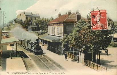 "CPA FRANCE 42 ""Saint Etienne, la gare de la Terrasse"" / TRAIN"