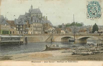 """CPA FRANCE 53 """"Mayenne, quai Carnot, Basilique Notre Dame"""""""