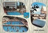 """09 Ariege CPSM FRANCE 09 """"Saint Girons, la piscine municipale, l'église et le salat"""""""
