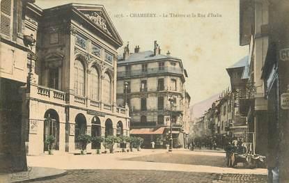 """CPA FRANCE 73 """"Chambéry, le Théatre et la rue d'Italie"""""""