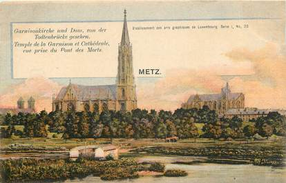 "CPA FRANCE 57 ""Metz, temple de la garnison et cathédrale"""