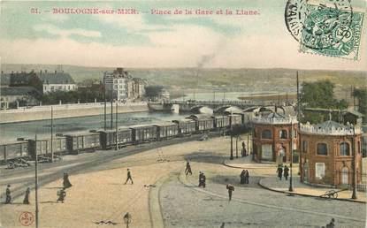 """CPA FRANCE 62 """"Boulogne sur Mer, Place de la gare"""""""