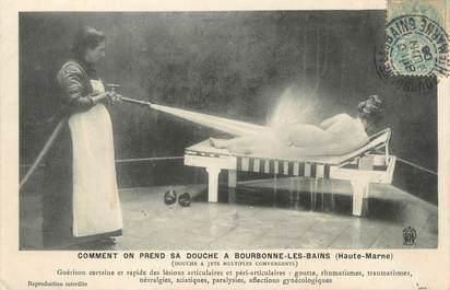 """/ CPA FRANCE 52 """"Bourbonne Les Bains, douche à jets multiples convergents"""""""