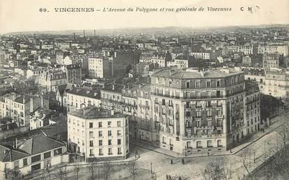 """/ CPA FRANCE 94 """"Vincennes, l'avenue du Polygone et vue générale de Vincennes"""""""