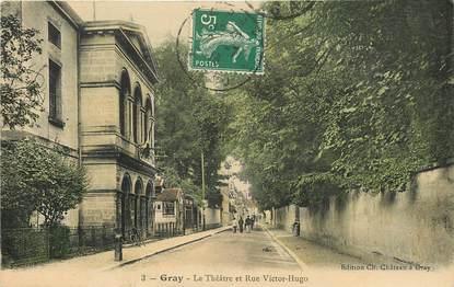 """CPA FRANCE 70 """"Gray, le théâtre et la rue Victor Hugo"""""""