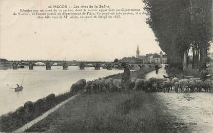 """/ CPA FRANCE 71 """"Macon, les rives de la Saône"""" / MOUTON"""