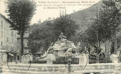 """/ CPA FRANCE 07 """"Les Vans"""" / MONUMENT AUX MORTS"""