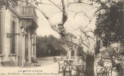 "/ CPA FRANCE 83 ""Bandol, terrasse  de l'hôtel Beau Rivage"""