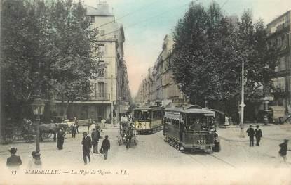 """/ CPA FRANCE 13 """"Marseille, la rue de Rome""""' / TRAMWAY"""