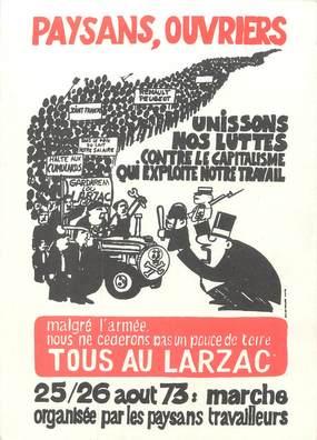 """/ CPSM FRANCE 12 """"Larzac, marche organisée par les paysans travailleurs"""""""
