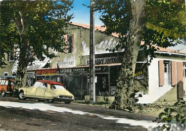 """/ CPSM FRANCE 13 """"Aix en Provence, bar tabacs Les Platanes"""" / DS"""