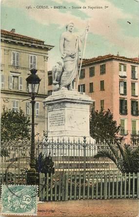"""CPA FRANCE 20 """"Corse, Bastia, Statue de Napoléon Ier"""""""