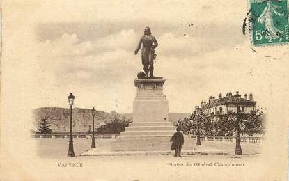 """/ CPA FRANCE 26 """"Valence, statue du Général Championnet"""" / PRECURSEUR, avant 1900"""