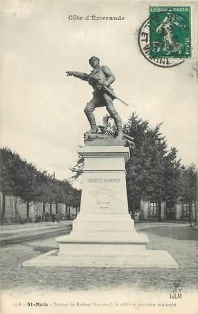 """/ CPA FRANCE 35 """"Saint Malo, statue de Robert Surcouf"""" / PRECURSEUR, avant 1900"""