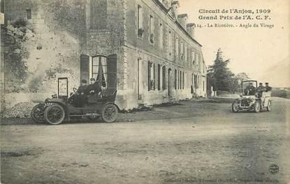 """/ CPA FRANCE 49 """"La Riottière, angle du virage, circuit de l'Anjou"""" / PRECURSEUR, avant 1900 / AUTOMOBILE"""