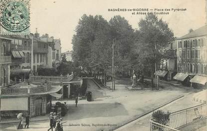 """/ CPA FRANCE 65 """"Bagnères de Bigorre, place des Pyrénées et allée des coustous"""" / PRECURSEUR, avant 1900"""