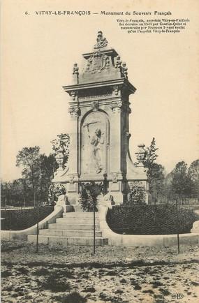 """/ CPA FRANCE 51 """"Vitry Le François, monument du souvenir français 1870"""" / PRECURSEUR, avant 1900"""