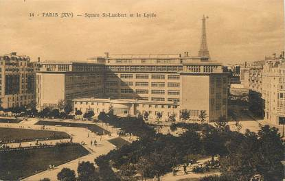 "/ CPA FRANCE 75014 ""Paris, square Saint Lambert et le lycée"""