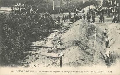 """/ CPA FRANCE 75016 """"Paris, les travaux de défense du camp retranché de Paris"""" / GUERRE DE 1914"""