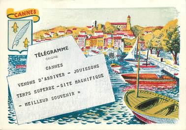 """CPSM  """"Cannes, vue sur le port et le Suquet"""""""