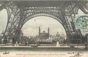 """75 Pari / CPA FRANCE 75007 """"Paris, le trocadéro, vue prise sous la Tour Eiffel"""" / CARTE PAILLETEE"""