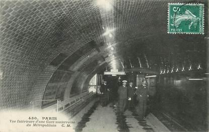 """/ CPA FRANCE 75 """"Paris, vue intérieure d'une gare souterraine du Métropolitain"""" / METRO"""