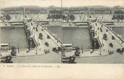 """/ CPA FRANCE 75001 """"Paris, le pont et la place de la concorde"""" / STEREO"""