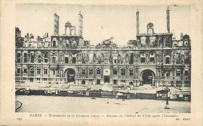 """/ CPA FRANCE 75001 """"Paris, ruines de l'hôtel de ville après l'incendie"""""""