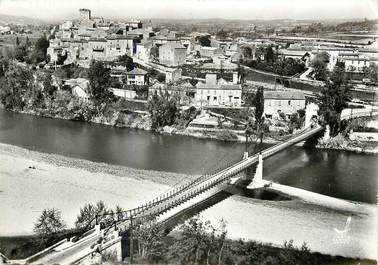 """CPSM FRANCE 30 """"Moussac, vue générale, le pont suspendu sur le gardon"""""""
