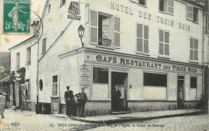 """/ CPA FRANCE 77 """"Brie Comte Robert, rue de l'église et cours du Sauvage"""""""