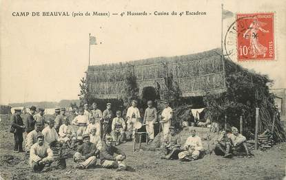 """/ CPA FRANCE 77 """"Camp de Beauval près de Meaux"""" / MILITAIRES"""