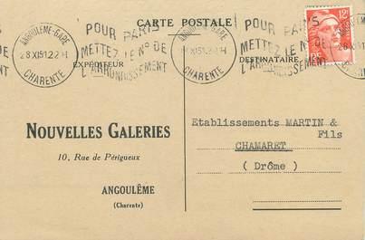 """/ CPSM FRANCE 16 """"Angoulème, nouvelles galeries"""" / CARTE PUBLICITAIRE"""