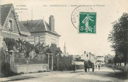 """/ CPA FRANCE 76 """"Goderville, entrée par la route de Fécamp"""""""