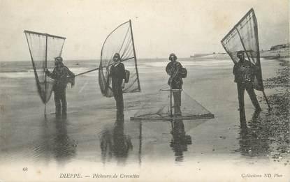 """/ CPA FRANCE 76 """"Dieppe, pêcheur de crevettes"""""""